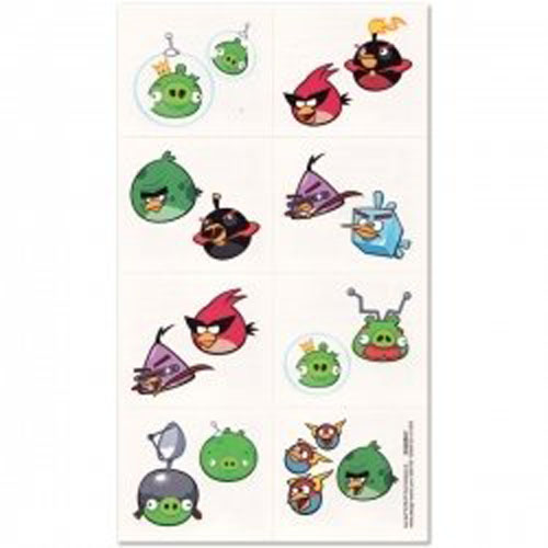 Angry birds party supplies tattoo favors at toystop for Tattoo party ideas
