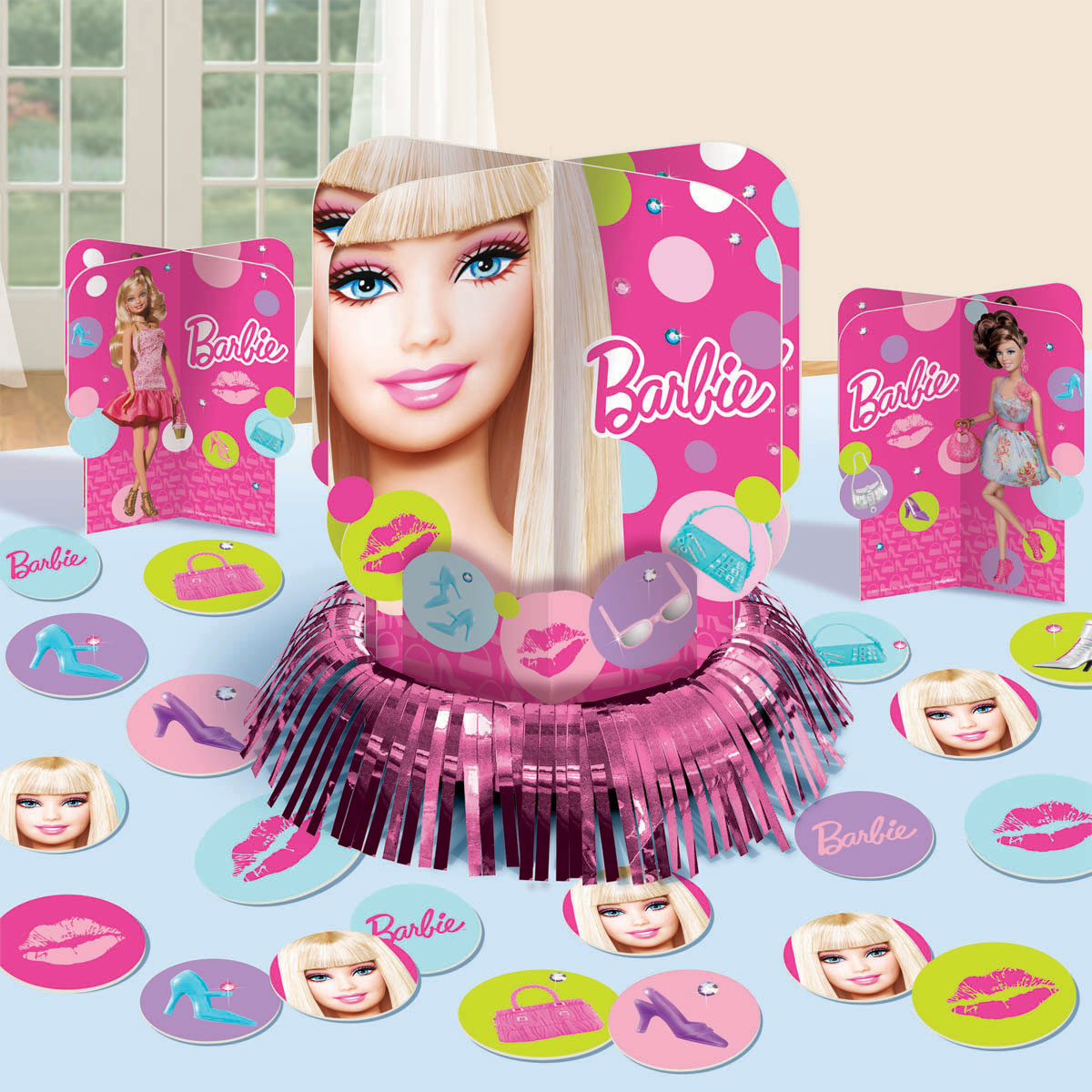 Barbie party supplies all doll 39 d up table decoration kit for Decoration barbie
