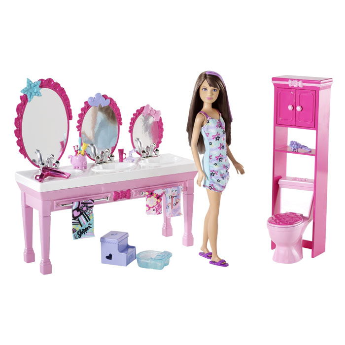 Toys For Sisters : Barbie toys sisters beauty fun bathroom and skipper doll