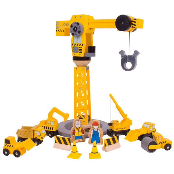 Construction Site Toys For Boys : Bigjigs wooden railway big crane construction set at