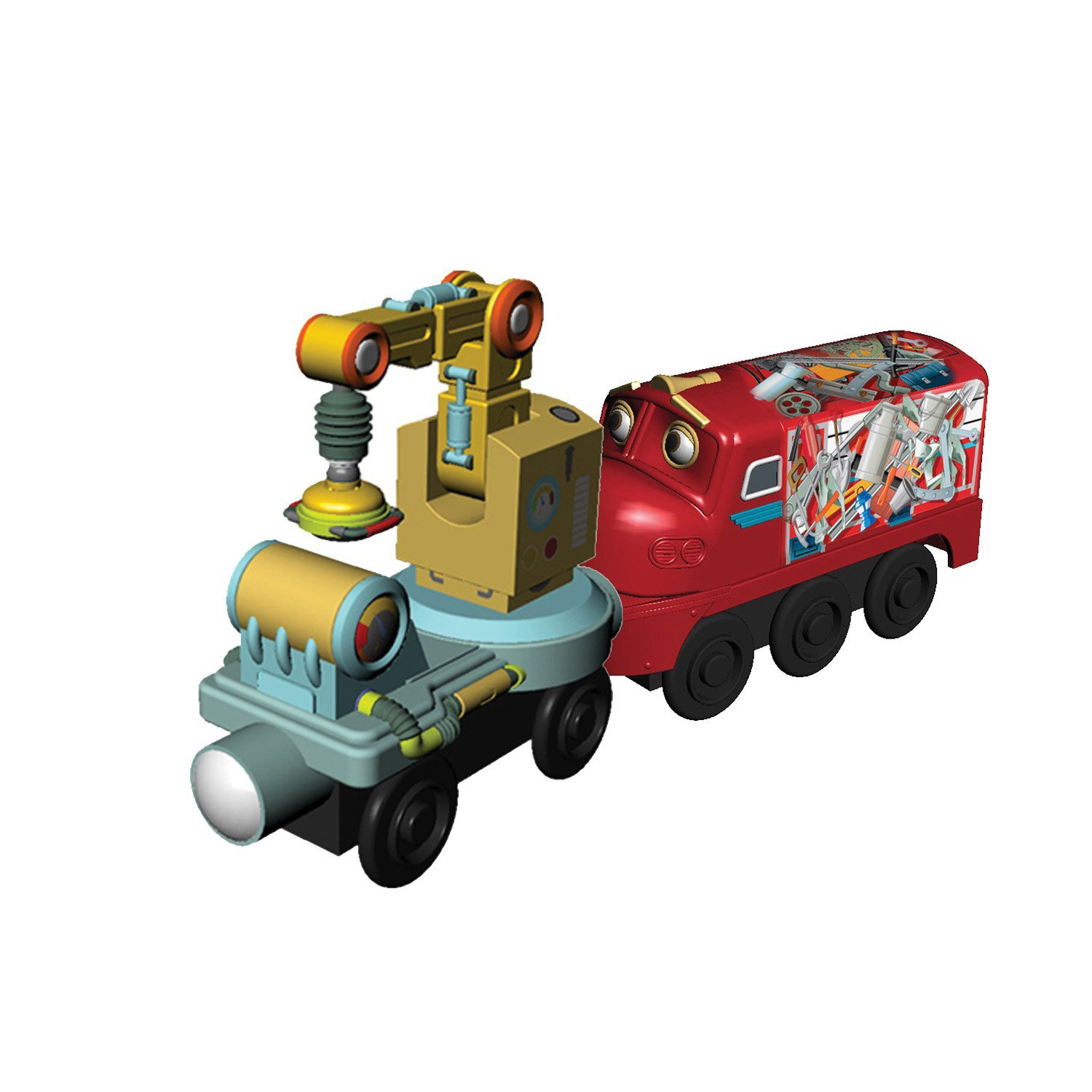 Chuggington Wooden Railway - Magnetic Wilson with Crane Car at ToyStop