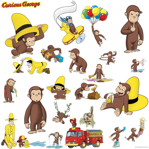 Curious george bedroom decor wall decals at toystop for Curious george wall mural
