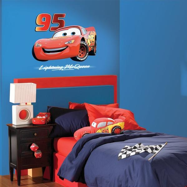 Disney Cars Bedroom Decor - Lightning McQueen Giant Wall Sticker at ToyStop