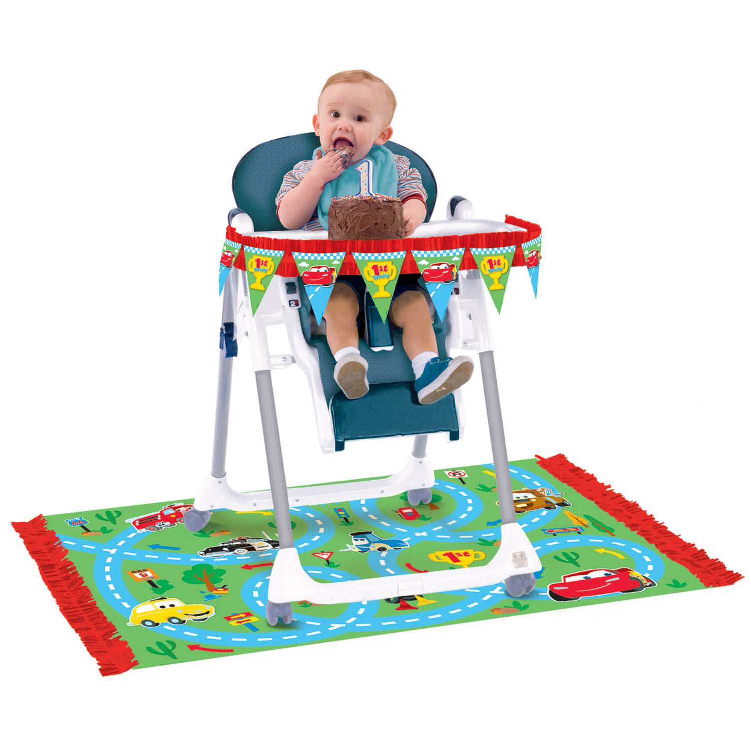 Pics photos amscan disney 1st birthday cars high chair decorating kit multi
