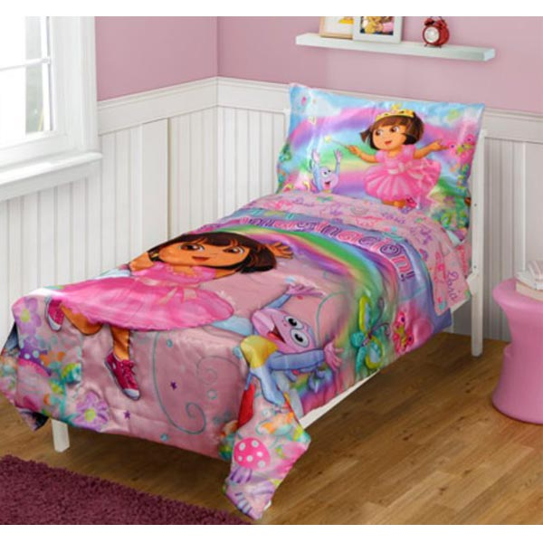 dora the explorer bedding 4 piece satin toddler bedding at toystop