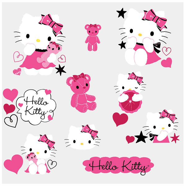 ... - And Stick Sticker Mural Hello Kitty Visage Achat Vente Stickers