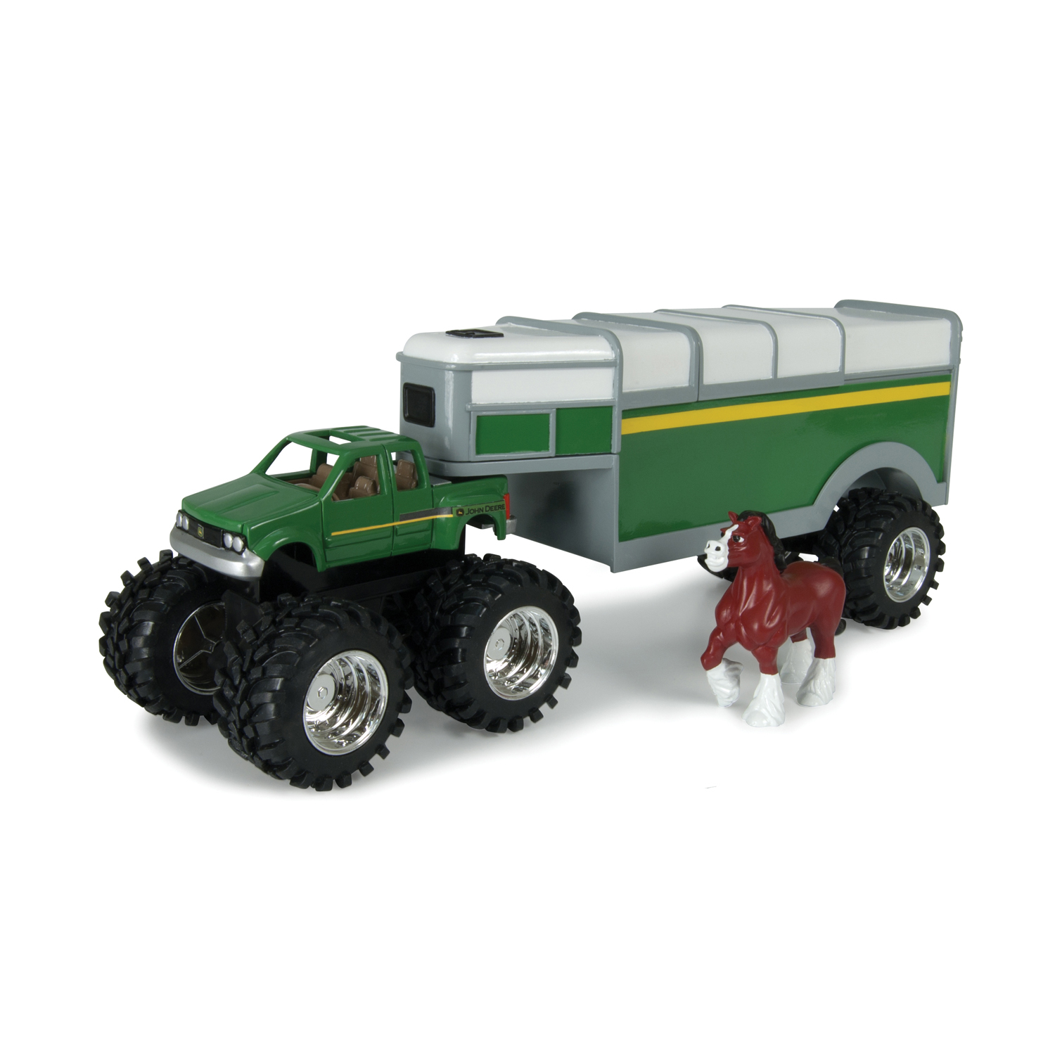 John Deere Toys Monster Treads Pickup Hauler With Horse