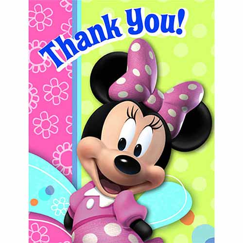 Minnie Mouse Party Supplies Postcard Thank You Notes At
